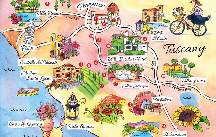 Tuscany Map Of Italy.Map Of Tuscany With Major Cities Places