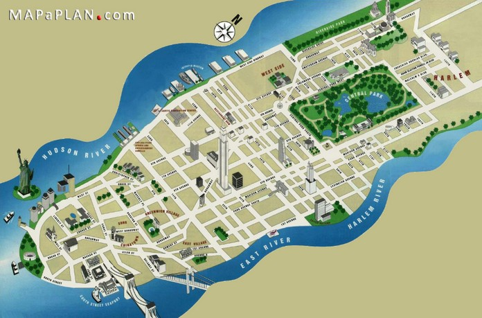 Map Of New York City With Landmarks.Map Of New York With Major Sights Places