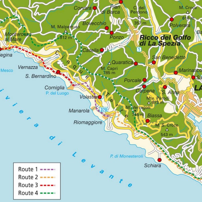 Italy Map Cinque Terre.Map Of The Cinque Terre With Major Places Towns