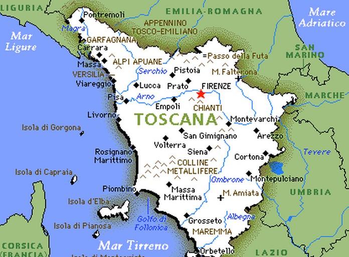 Toscana Cartina Geografica Politica.The Region Of Tuscany Toscana Download 696 512 Toscana Cartina 37arts Net