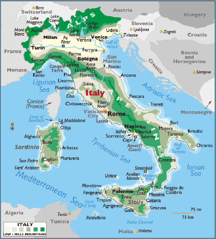 Map Of Italy With Towns.A Colorful Travel Map Of Italy