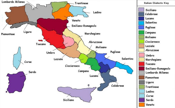 Pics Of Italy Map.The Map Of The Italian Languages