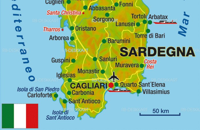 Destinations >> Map of Sardinia with major Places + Towns