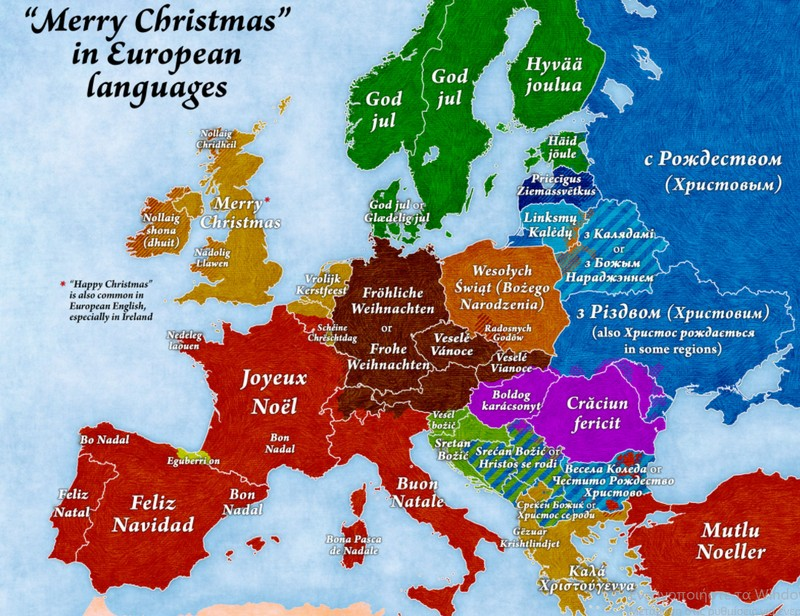 a popular map showing how to wish people a merry christmas in french german spanish italian greek and many other european languages - Merry Christmas In Greek Language